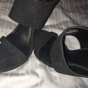 *Express* Sexy Black Suede peep toe heels!!!